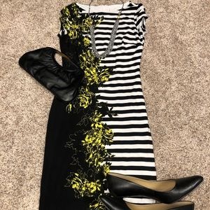 Cache striped floral dress